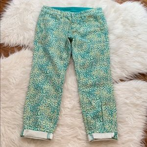 NWT Ann Taylor Turquoise Printed Modern Crop Jeans